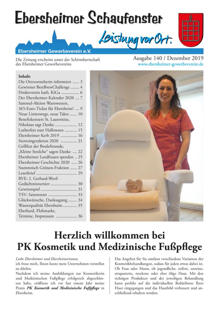 Titelseite des Ebersheimer Schaufensters Nr. 140 / Dezember 2019